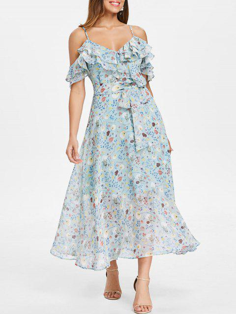 Floral Cold Shoulder Layer Ruffle Midi Dress - Bleu Tron M