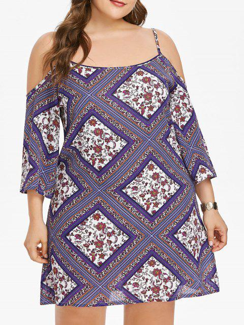 Plus Size Ethnic Print Shift Dress - PURPLE L