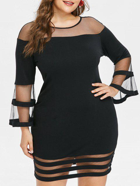 Plus Size Mini Mesh Panel Tight Dress - BLACK L