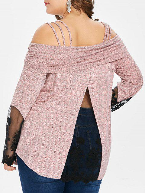 Plus Size Lace Insert Ribbed T-shirt - LIGHT PINK 2X