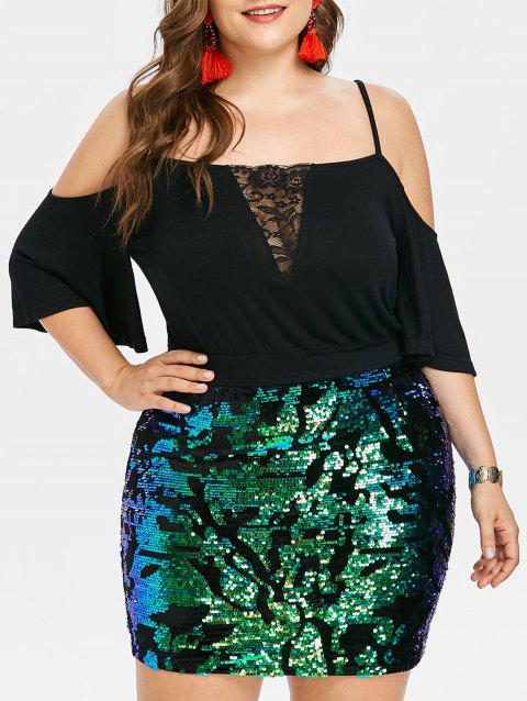 Plus Size Glittery Cold Shoulder Tight Dress - BLACK L