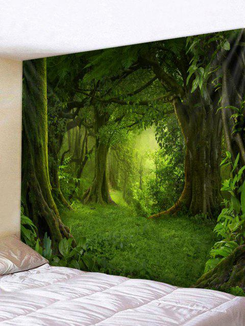 Forest Pattern Wall Tapestry Decoration - SEAWEED GREEN W91 INCH * L71 INCH
