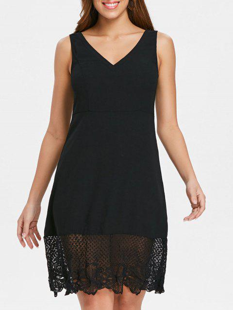 Open Back Lace Insert V Neck Dress - BLACK XL
