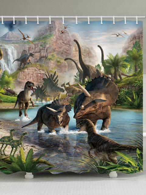Dinosaur Park Printed Stall Shower Curtain - multicolor W71 INCH * L79 INCH