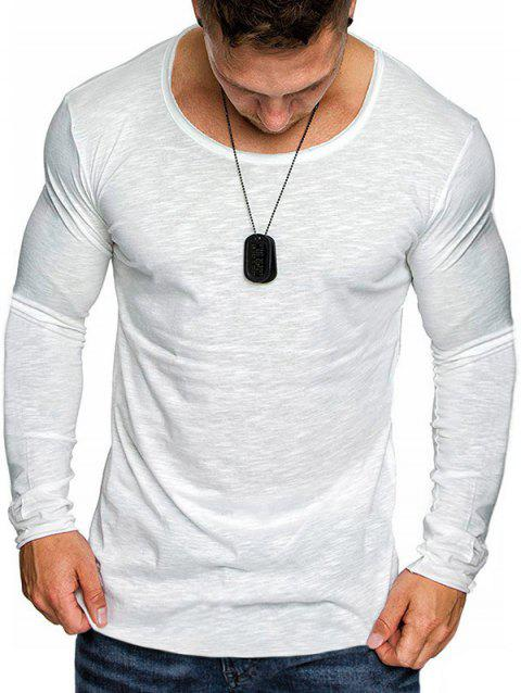 Solid Color Round Neck T-shirt - WHITE 2XL