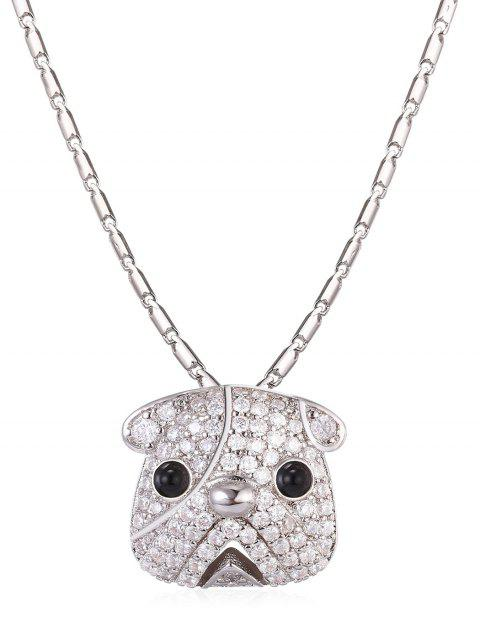Cute Rhinestone Puppy Dog Pendant Necklace - SILVER