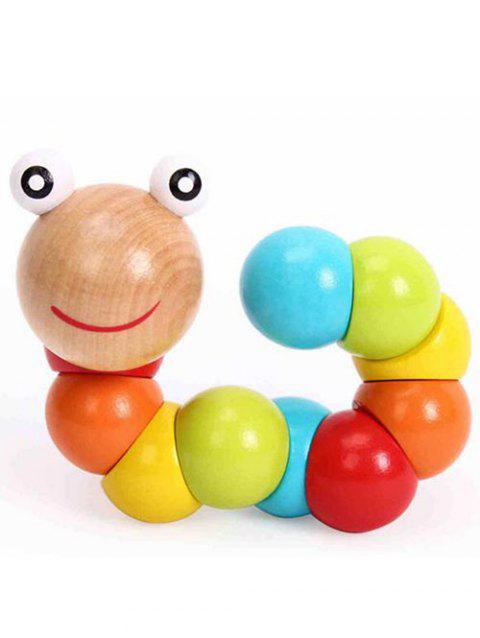 Wooden Twisting Worm Toy - multicolor