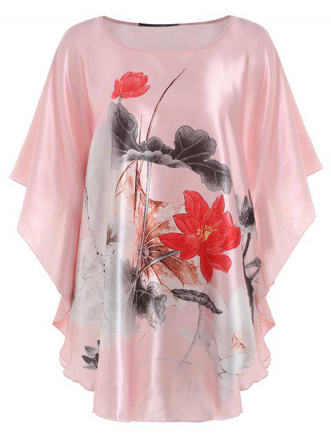 Satin Ink Painting Nightdress - LIGHT PINK ONE SIZE