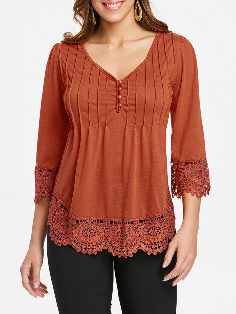 Cutwork Lace V Neck Top - DARK ORANGE XL