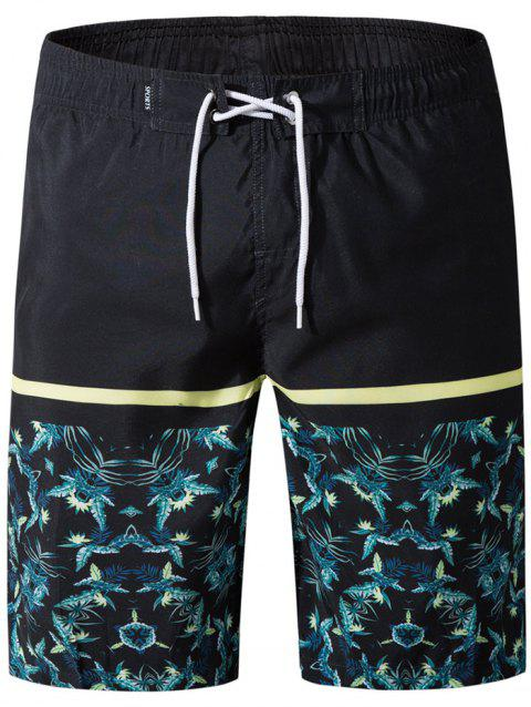 Panel Leaves Print Drawstring Bermuda Shorts - BLACK 2XL
