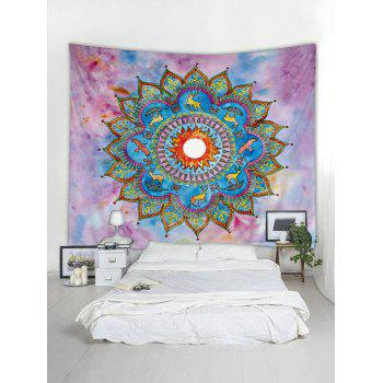 Deer Flower Print Tapestry Wall Art Decoration - multicolor W91 INCH * L71 INCH