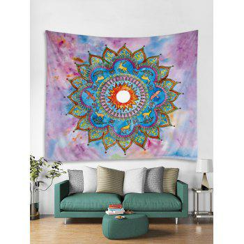 Deer Flower Print Tapestry Wall Art Decoration - multicolor W79 INCH * L71 INCH