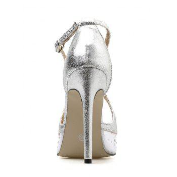 High Heel Party Dreamy Rhinestone Pointed Toe Pumps - SILVER 40