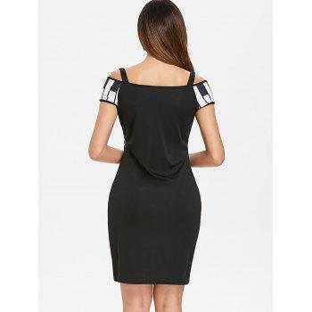 Open Shoulder Piano Notes Print Bodycon Dress - BLACK L