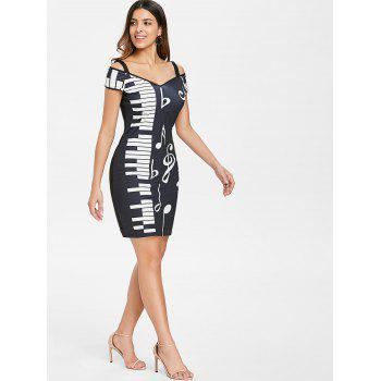 Open Shoulder Piano Notes Print Bodycon Dress - BLACK 2XL
