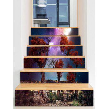 Milky Way Print Stair Stickers - multicolor 6PCS:39*7 INCH( NO FRAME )