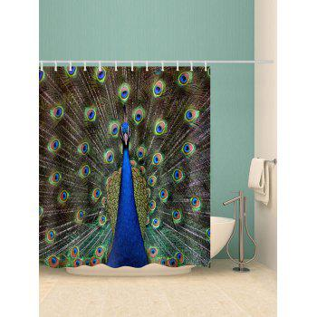 Peacock Print Waterproof Shower Curtain - multicolor W71 INCH * L71 INCH