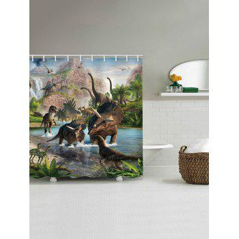 Dinosaur Park Printed Stall Shower Curtain - multicolor W59 INCH * L71 INCH