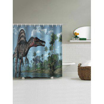Dinosaur Forest Printed Stall Shower Curtain - multicolor W71 INCH * L71 INCH
