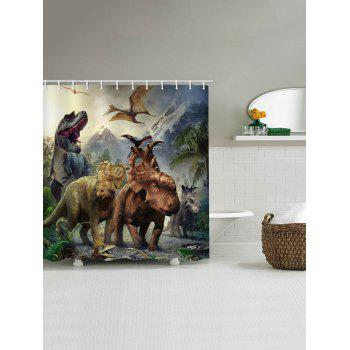 Dinosaurs World Printed Stall Shower Curtain - multicolor W71 INCH * L71 INCH
