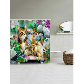 Little Cat Playing Butterflies Printed Shower Curtain - multicolor W71 INCH * L79 INCH