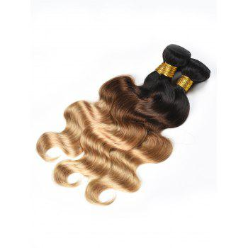 3Pcs Ombre Body Wave Indian Human Hair Wefts - multicolor 24INCH*24INCH*24INCH