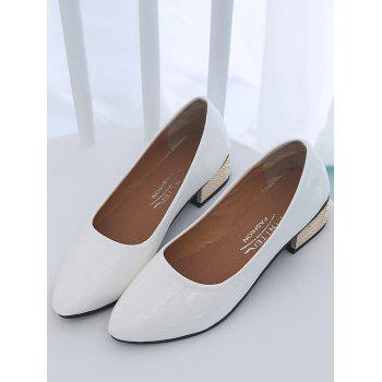 Chunky Heel Slip On Pointed Toe Leisure Pumps - WHITE 39