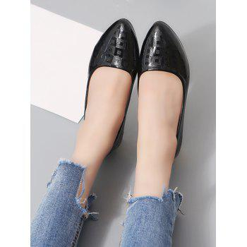 Chunky Heel Slip On Pointed Toe Leisure Pumps - BLACK 40