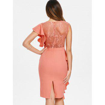 Lace Insert Ruffle Asymmetrical Sleeve Dress - ORANGE PINK S
