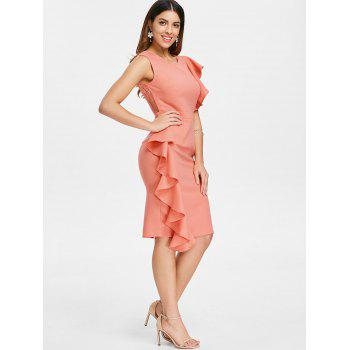 Lace Insert Ruffle Asymmetrical Sleeve Dress - ORANGE PINK XL