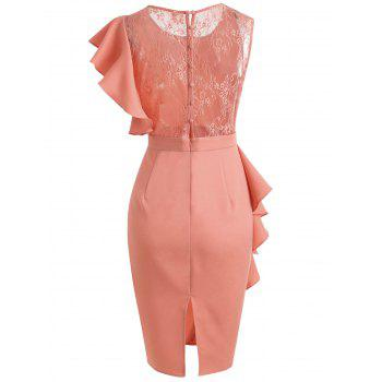 Lace Insert Ruffle Asymmetrical Sleeve Dress - ORANGE PINK 2XL
