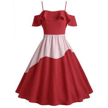 Two Tone Ruffle Cold Shoulder Midi Dress - RED M