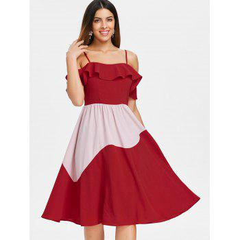 Two Tone Ruffle Cold Shoulder Midi Dress - RED XL