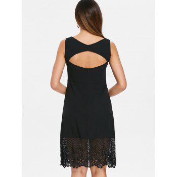 Open Back Lace Insert V Neck Dress - BLACK S
