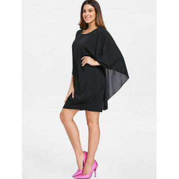 Round Neck Capelet Dress - BLACK XL