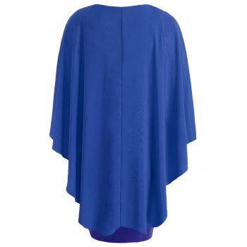 Round Neck Capelet Dress - BLUE 2XL