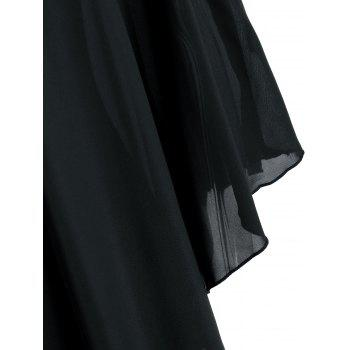 Round Neck Capelet Dress - BLACK L