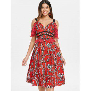 Floral Ruffle Cold Shoulder Midi Dress - CHESTNUT RED 2XL