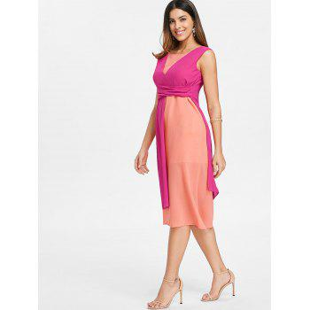 Color Block Sleeveless Chiffon Midi Dress - ROSE RED XL