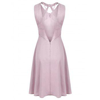 Open Back Cutout Neck Skater Dress - LIGHT PINK XL