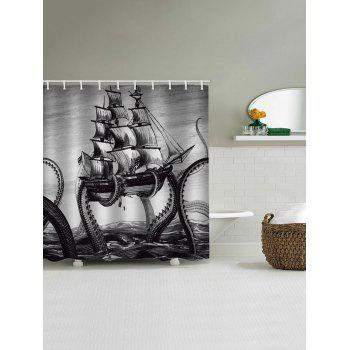Octopus Ship Print Waterproof Shower Curtain - BLACK W65 INCH * L71 INCH
