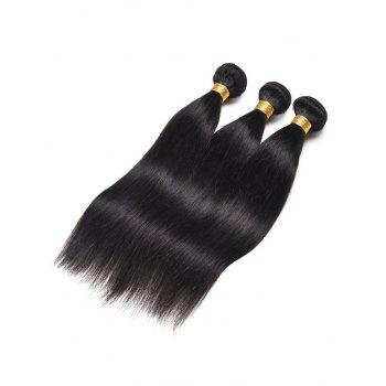 3Pcs Straight Indian Virgin Real Human Hair Weaves - BLACK 12INCH*12INCH*12INCH