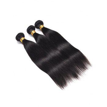 3Pcs Straight Indian Virgin Real Human Hair Weaves - BLACK 14INCH*14INCH*14INCH