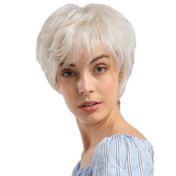 Short Inclined Fringe Straight Cosplay Human Hair Wig - PLATINUM