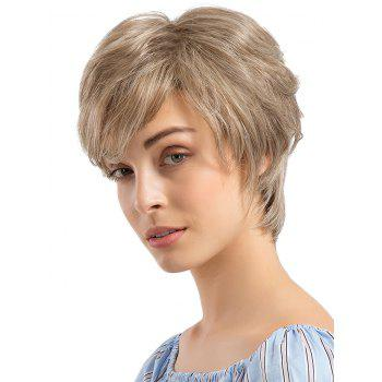 Short Side Fringe Capless Layer Straight Human Hair Wig - CHAMPAGNE GOLD