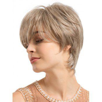 Inclined Fringe Capless Short Length Straight Human Hair Wig - CHAMPAGNE GOLD