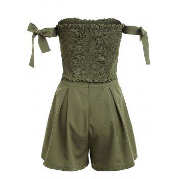 Strapless Crop Top and Elastic Waist Shorts - ARMY GREEN M