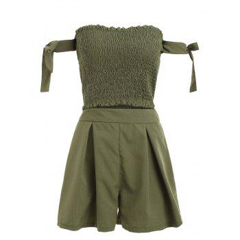 Strapless Crop Top and Elastic Waist Shorts - ARMY GREEN S
