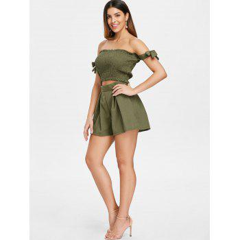 Strapless Crop Top and Elastic Waist Shorts - ARMY GREEN L