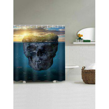 Skull Island Printed Waterproof Bath Curtain - multicolor W59 INCH * L71 INCH